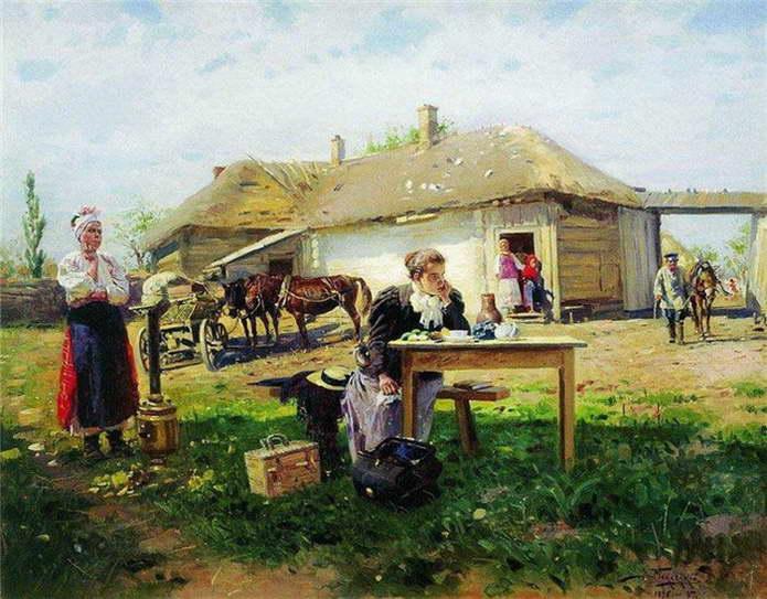 Маковский В.Е. — Приезд учительницы в деревню